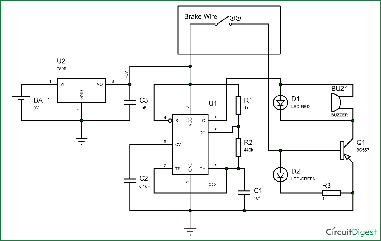 Brake failure indicator circuit diagram