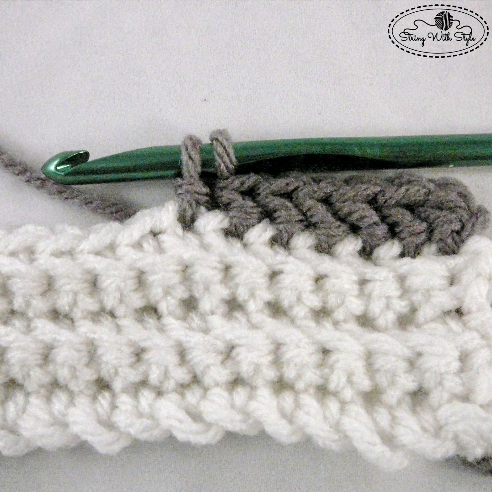 How to create a slanted hdc stitch - String With Style