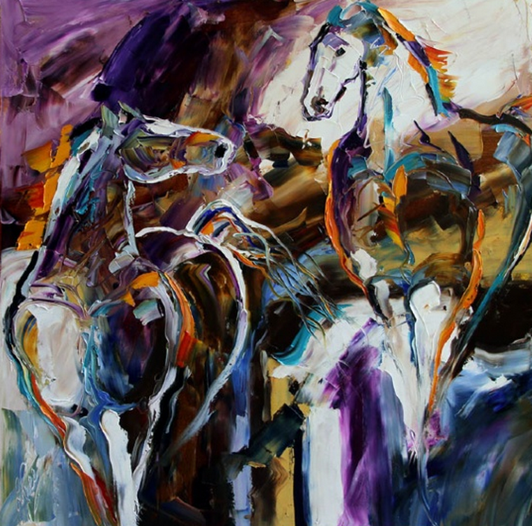 Texas Contemporary Fine Artist Laurie Pace: Looking Back for Him... Horse Painting sold at Mirada Fine Art by Texas Artist Laurie Pace
