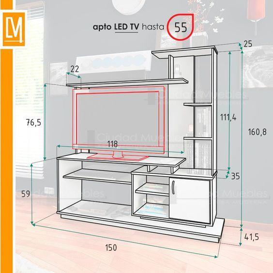muebles de sala de entretenimiento - Buscar con Google | Dimensiones ...