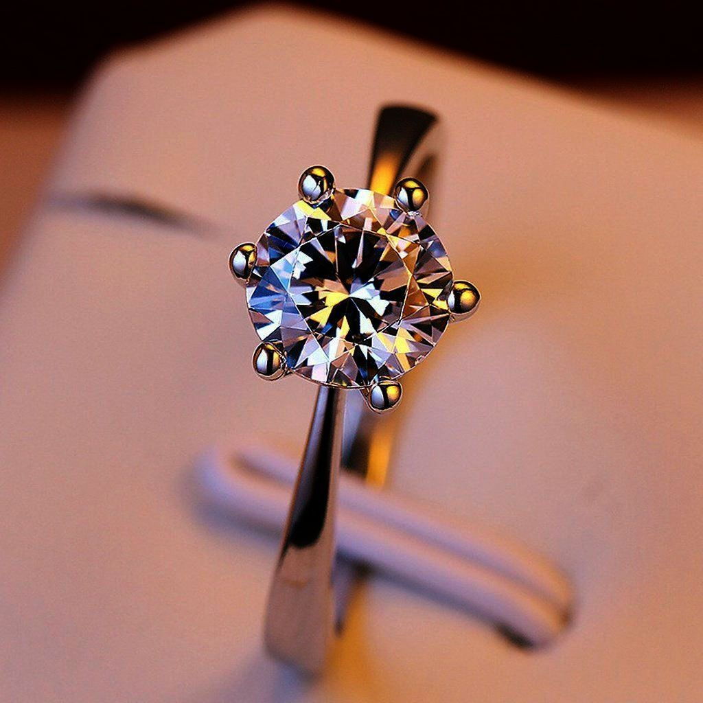Solitaire Engagement Ring Round Large Engagement Ring Designers ...