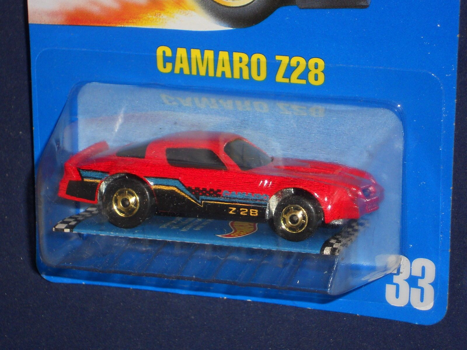 Hot Wheels 1990  Camaro Z28 Red w Unpainted Metal Base Gold Hos Collector # 33
