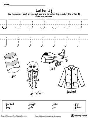 Words Starting With Letter J E For Kids Pinterest Worksheets