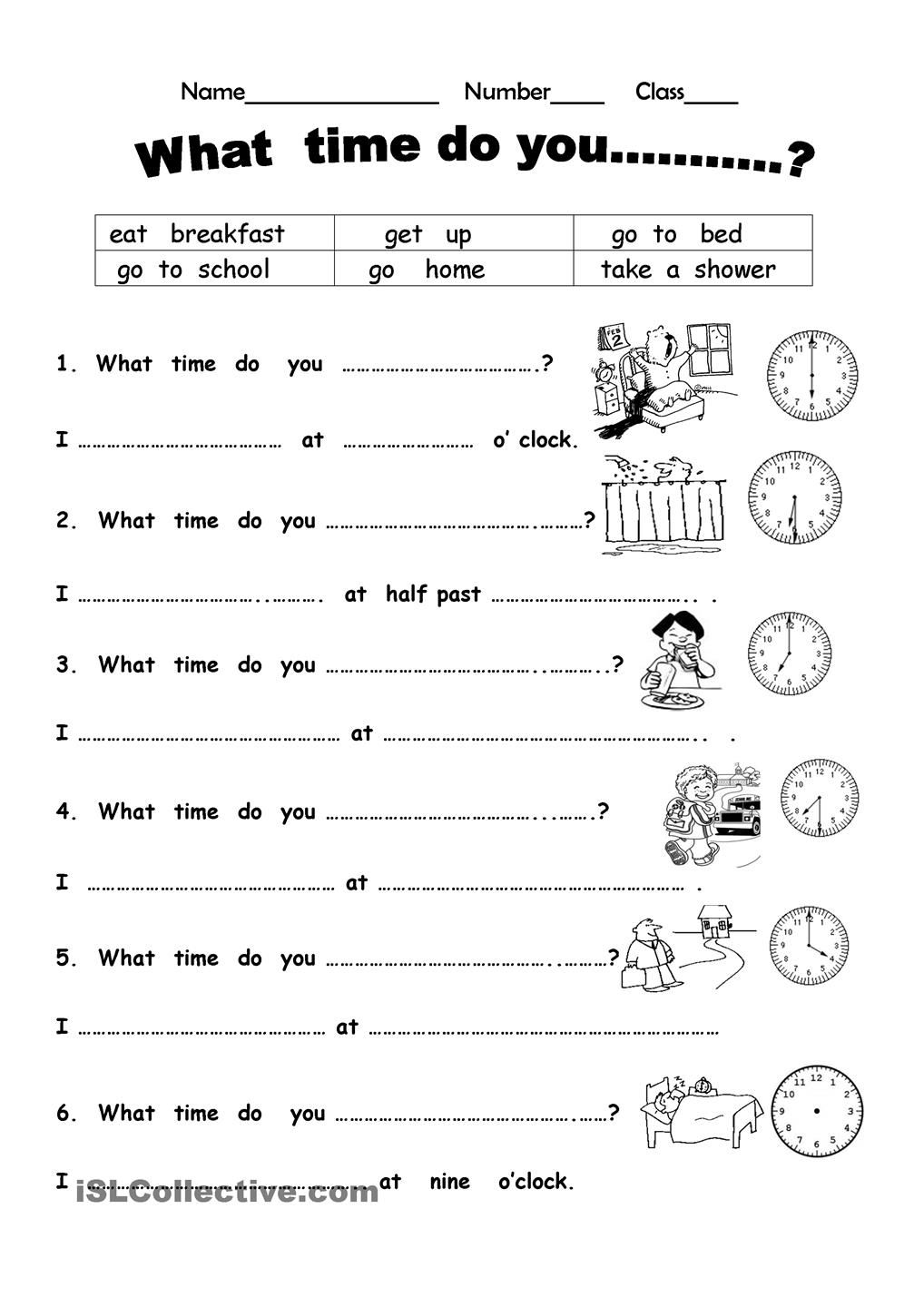 What time do you? English worksheets for kids, Time