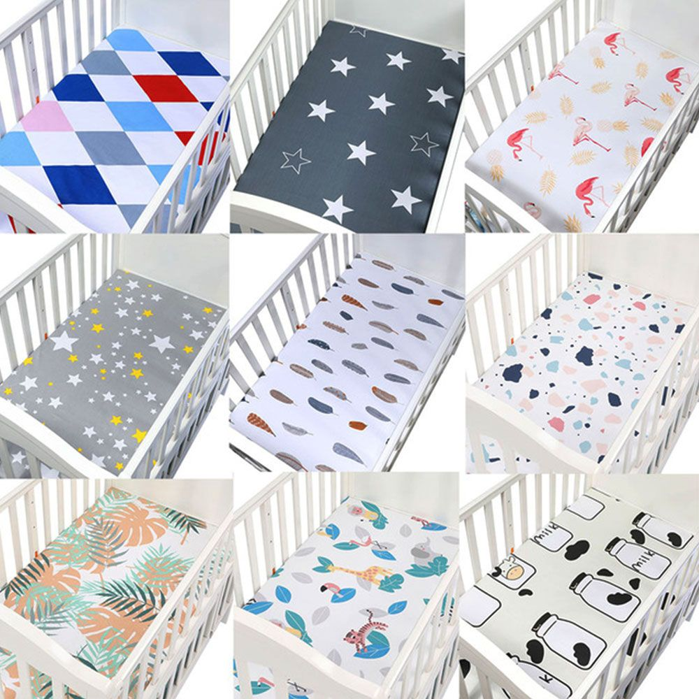100 Cotton Crib Fitted Sheet Soft Breathable Baby Bed Mattress