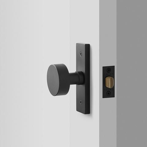 Photo of Rome Small Door Set with Cylinder Knob – Flat Black