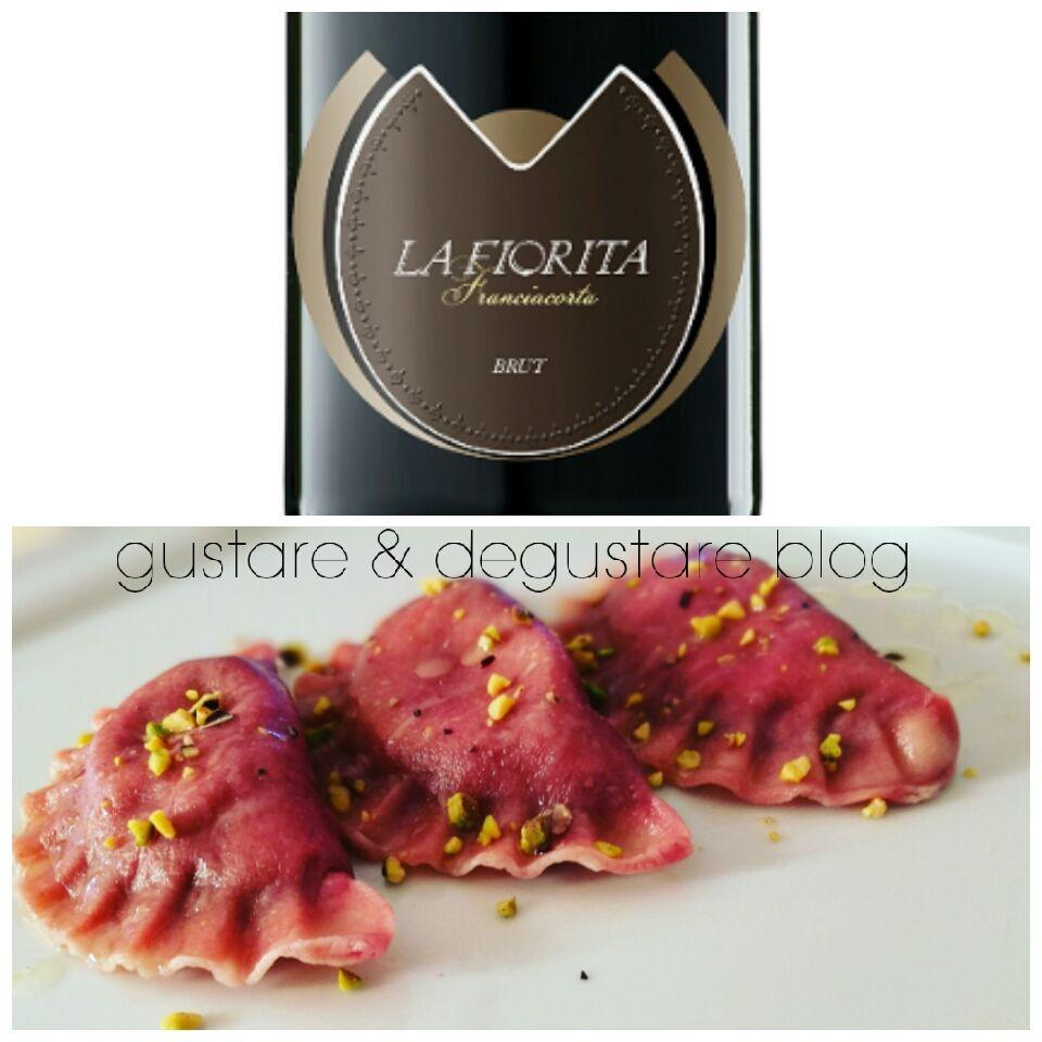 Ravioli Di Rapa Rossa Gorgonzola E Pistacchi Abbinati A Franciacorta Brut Wine Recipes Food