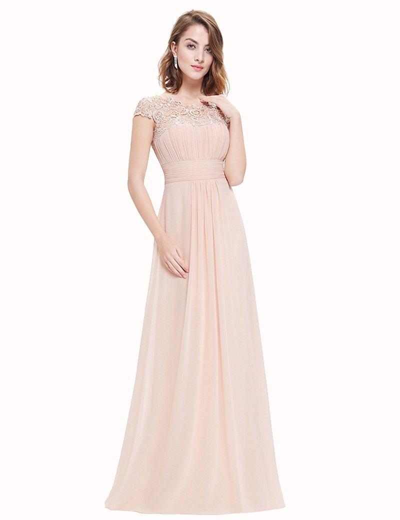 Beige color bateau cap sleeves long open back bridesmaid