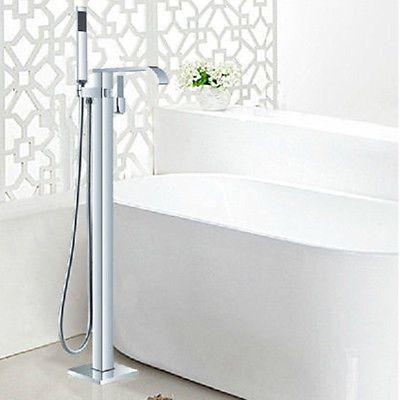 Free Standing Floor Mounted Bathroom Tub Filler Chrome Shower