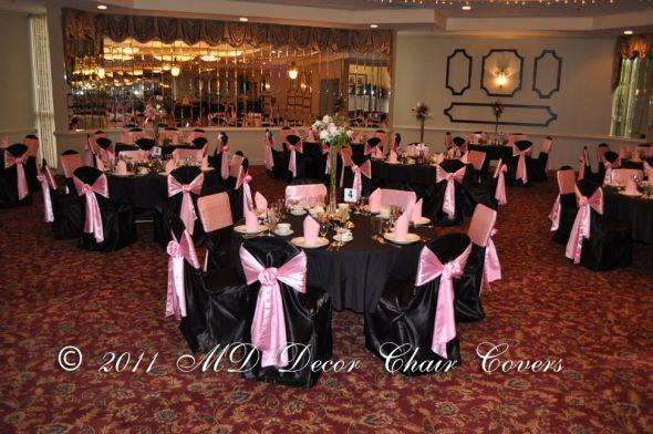 Black and Pink Wedding Tables | Light Pink Table Cloth with black ...