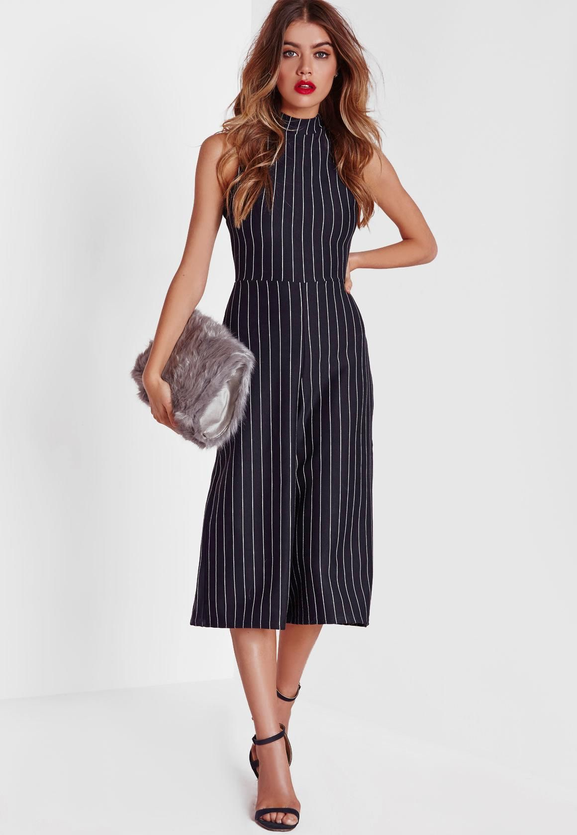 18bbb42efad1 Missguided - High Neck Pinstripe Culotte Jumpsuit Navy