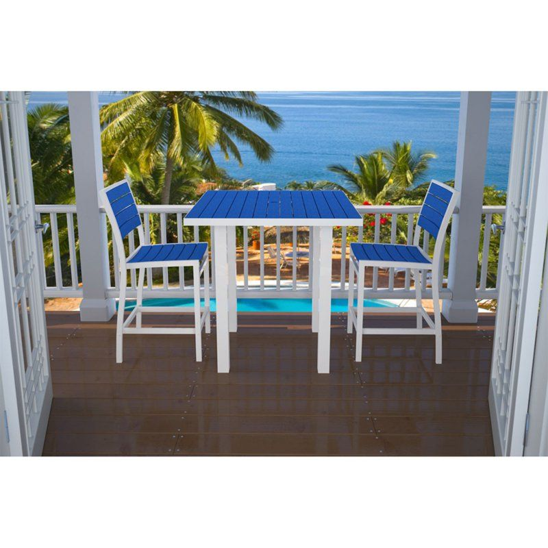 Outdoor POLYWOOD® Euro Aluminum Square 3 Piece Counter Height Bistro Set - PW808