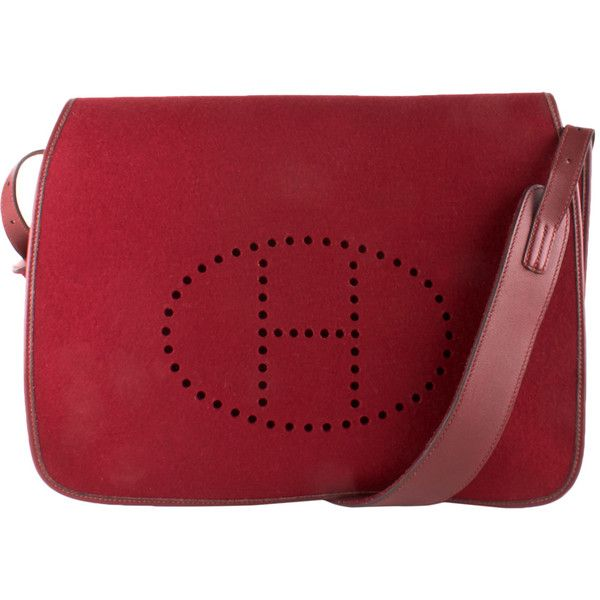 Hermès Hermès Rouge Vif Felt Perforated H Messenger ($1,949) ❤ liked on Polyvore featuring men's fashion, men's bags, men's messenger bags, no color, mens vintage leather messenger bag and mens messenger bag