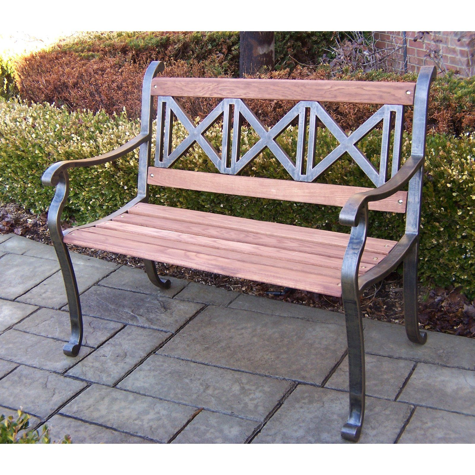 Oakland Living Triple Cross Tubular Iron And Wood Bench In Antique