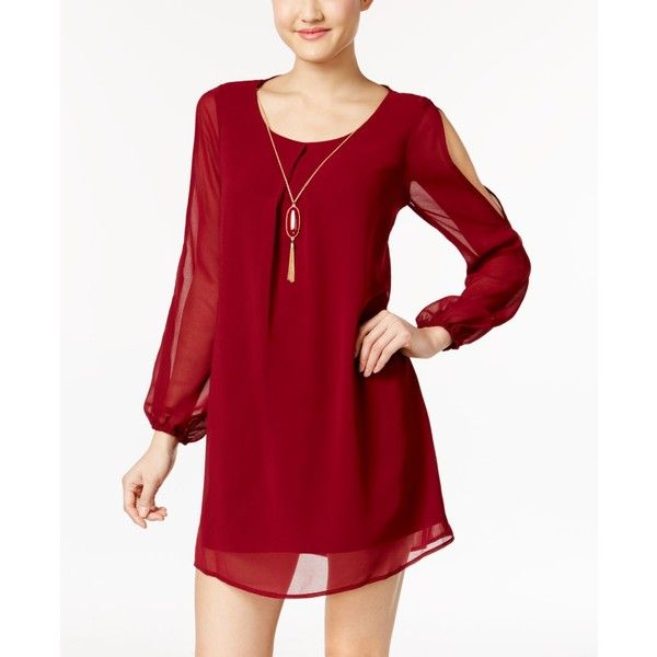 As U Wish Juniors' Split Sleeve Shift Dress with Necklace