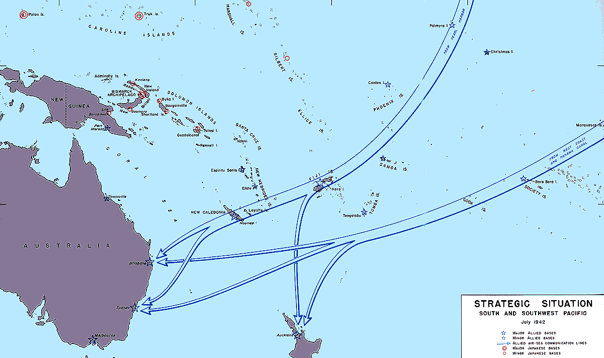 Pacific War - map of the strategic situation in South Pacific, July ...
