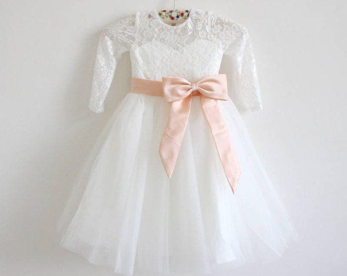 f68c9e235fd ... Ivory Flower Girl Long SleevesTulle Lace Dress. Vestido de flor de  marfil claro de la muchacha Vestido de la muchacha de flor de Tulle del  cordón de la ...