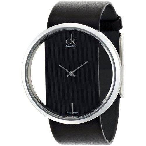 7a67676ad6 Calvin Klein K9423107 Ladies Glam Transparent Glass Leather Watch ...