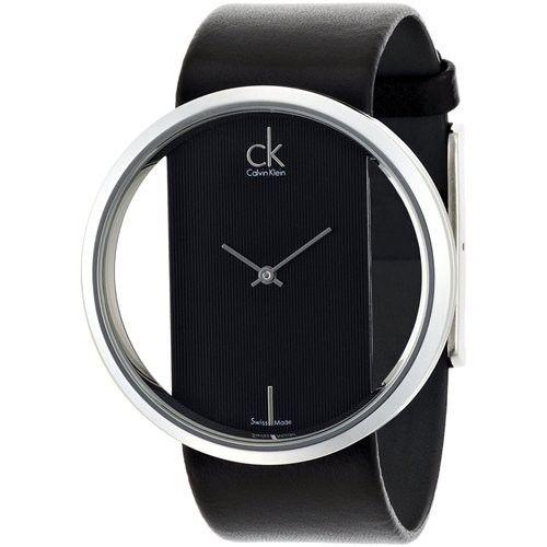 b487f6f77 Calvin Klein K9423107 Ladies Glam Transparent Glass Leather Watch ...