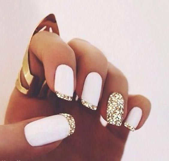35 easy glitter nail art ideas you will love to try white nails 35 easy glitter nail art ideas you will love to try solutioingenieria Images