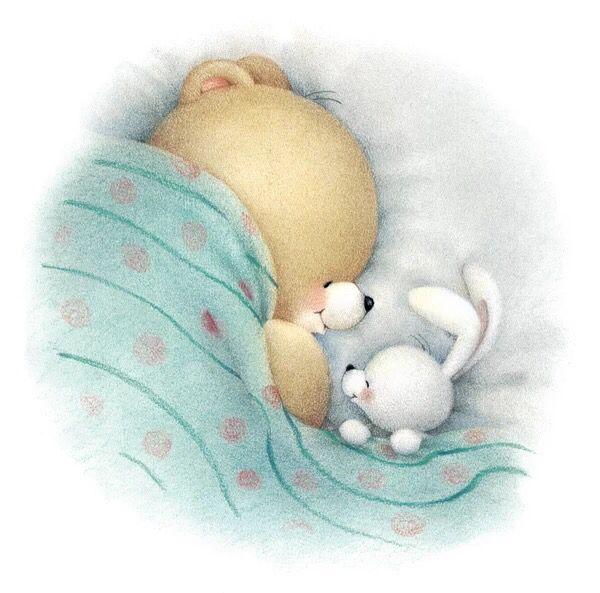 Открытка спокойной ночи с мишкой