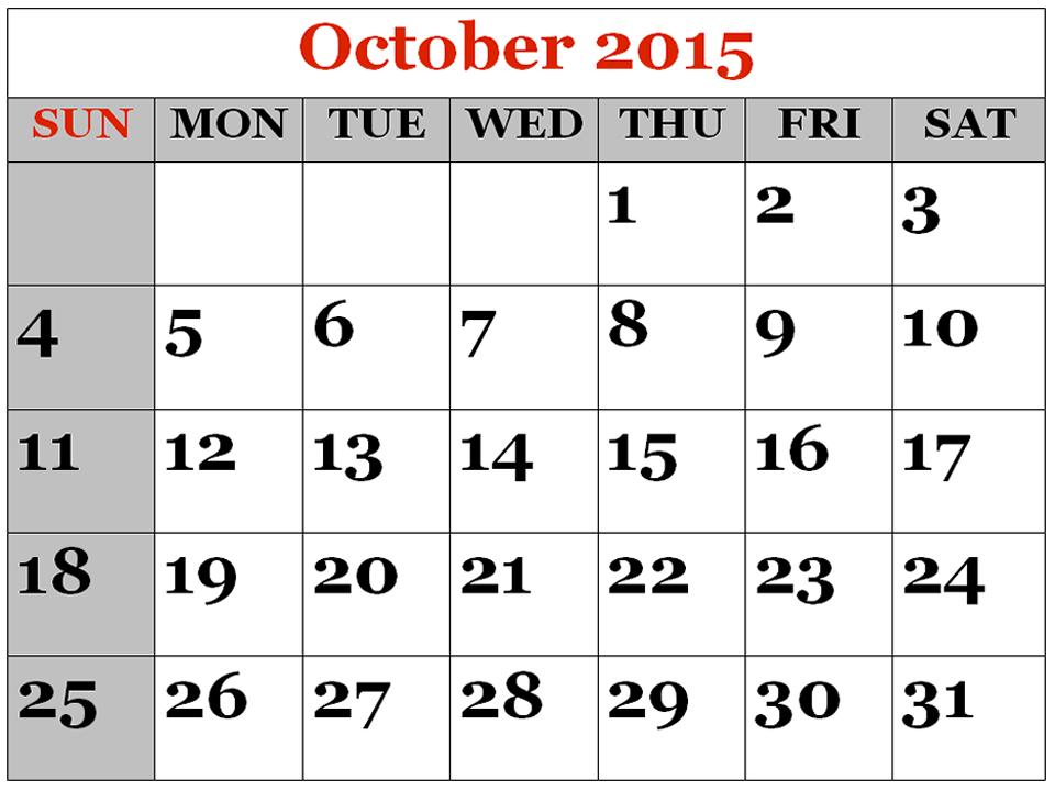 October Calendar 2015 : Free download october calendar printable pictures