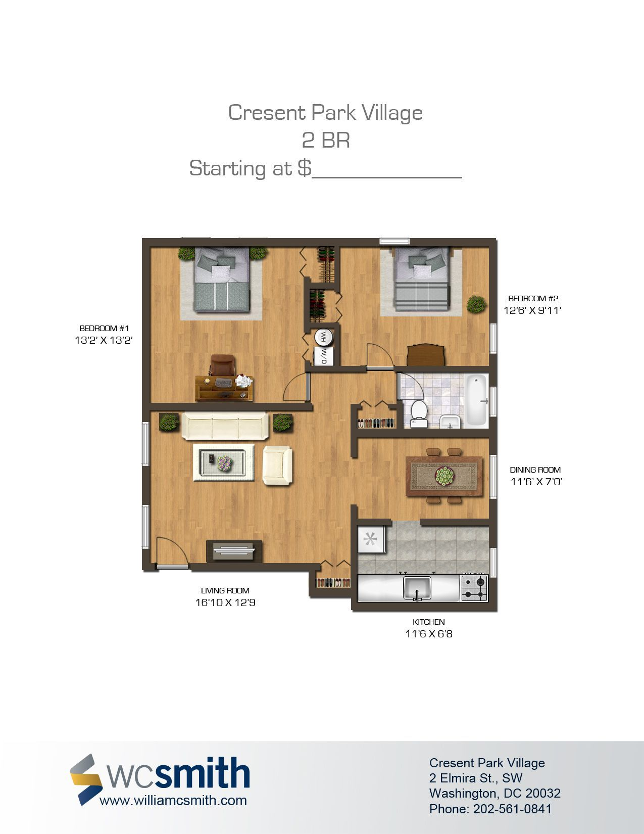 Two Bedroom Floor Plan Crescent Park Village in