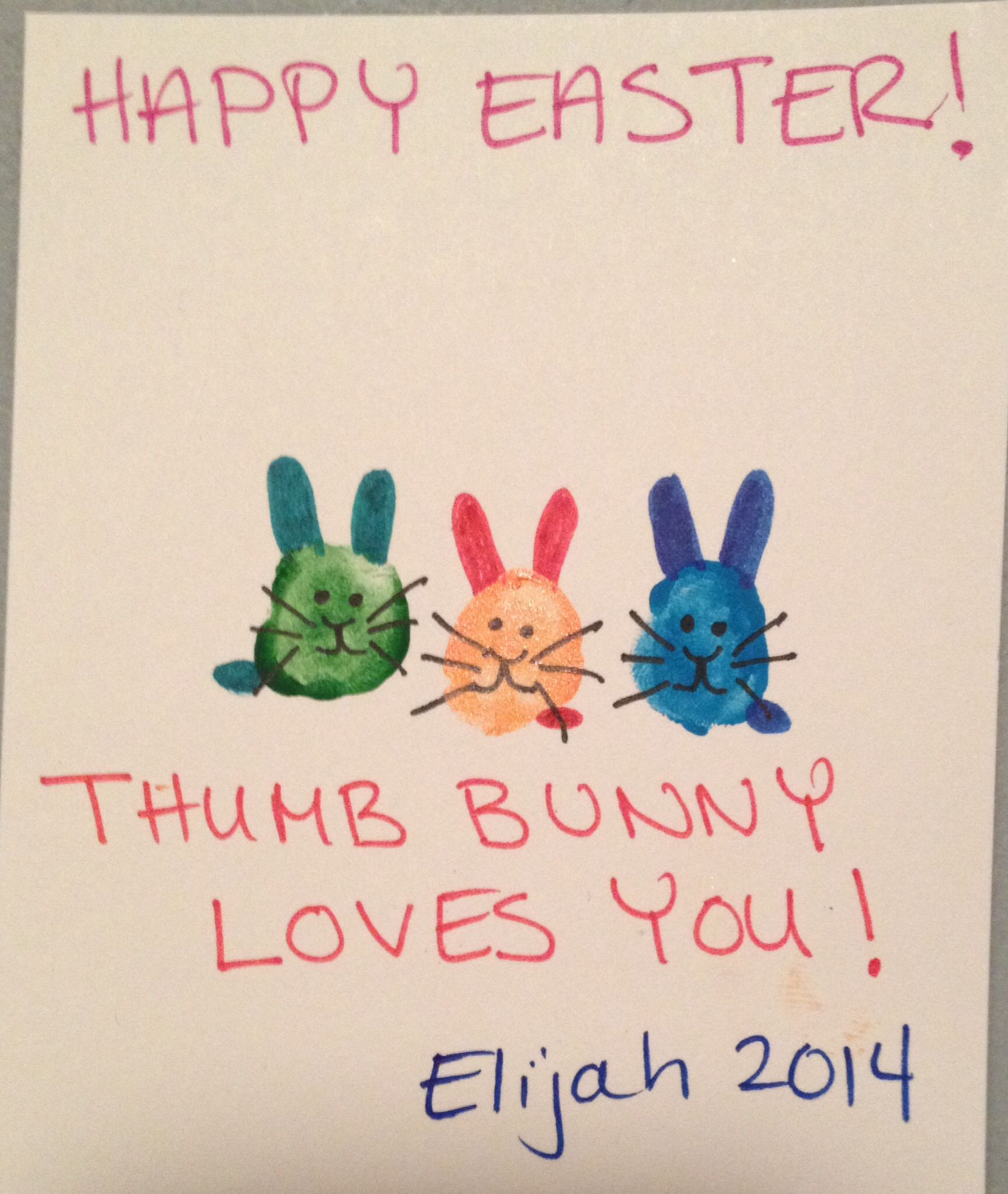 Easter Craft-Thumb bunny loves you