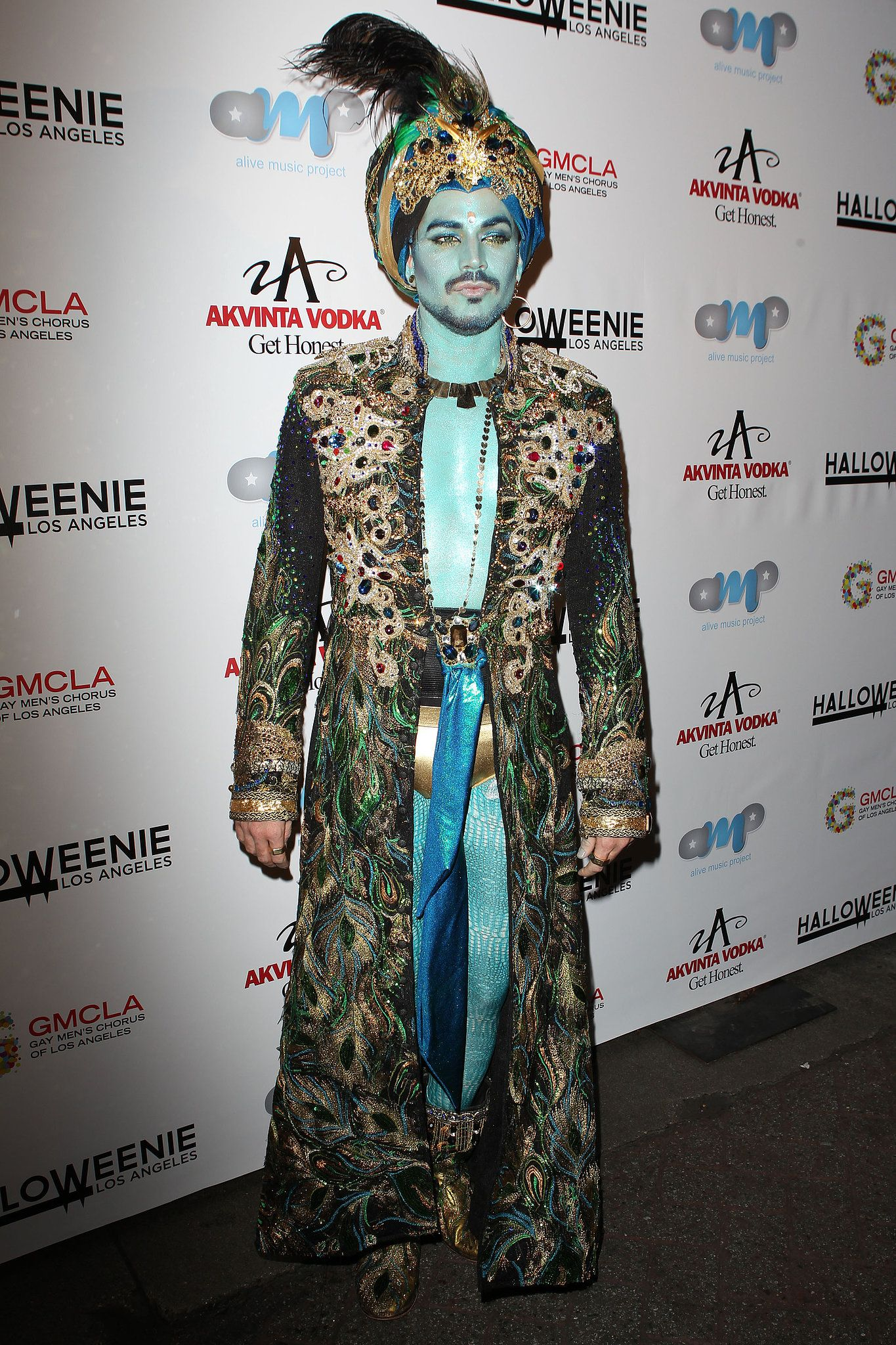 Adam Lambert dressed as a genie for an event benefitting the Gay Men's Chorus of LA.