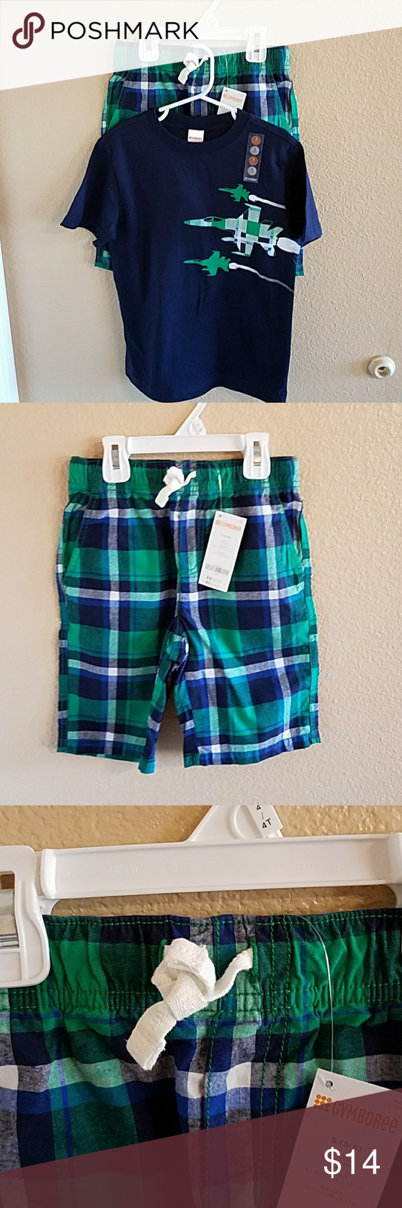 Gymboree Boys NWT Shirt & Short Set Sz 5/6 Adorable NWT Navy Blue, Green, and White Boys T Shirt and Plaid Shorts Size Small 5/6 Navy Blue T Shirt with Iron On Jet Planes  Matching Plaid Shorts with Pockets on Front and Back Stretchy Comfy Waistband with Adjustable Tie Waistband Gymboree Matching Sets