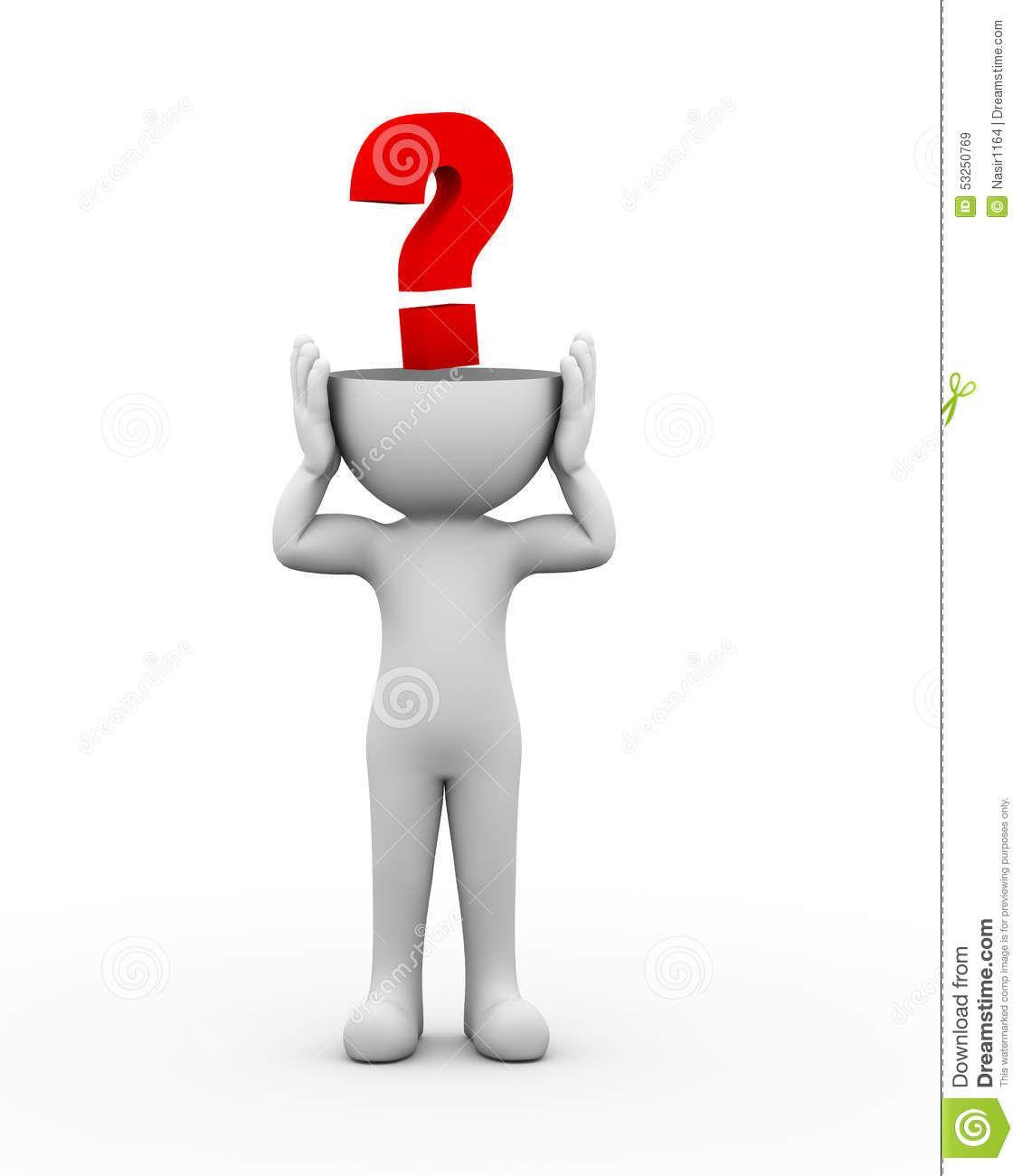 3d Abren El Signo De Interrogación Principal Del Hombre Stock de ...