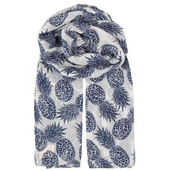 Laka Pineapple Print Scarf Blue (42 CAD) ❤ liked on Polyvore featuring accessories, scarves, blue scarves, pineapple shawl, lightweight shawl, lightweight scarves and cotton shawl