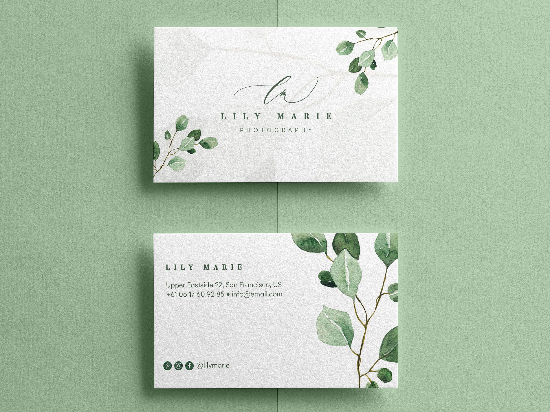 Eucalyptus Business Cards Watercolor Business Cards Business Card Templa Graphic Design Business Card Business Cards Watercolor Business Card Design Creative