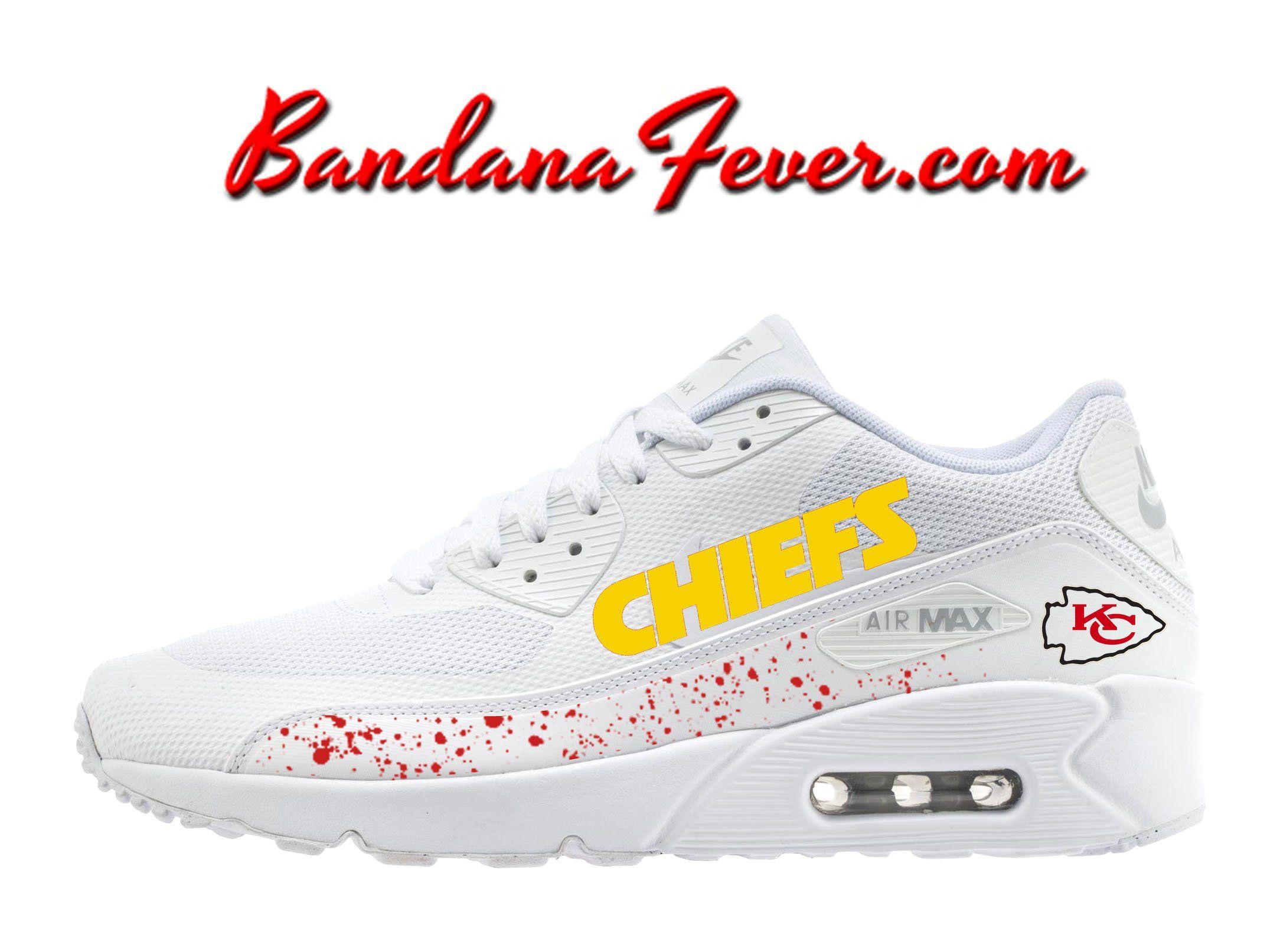 13cd12e18ae Custom Chiefs Nike Air Max 90 Shoes White, #Chiefs, #gochiefs ...