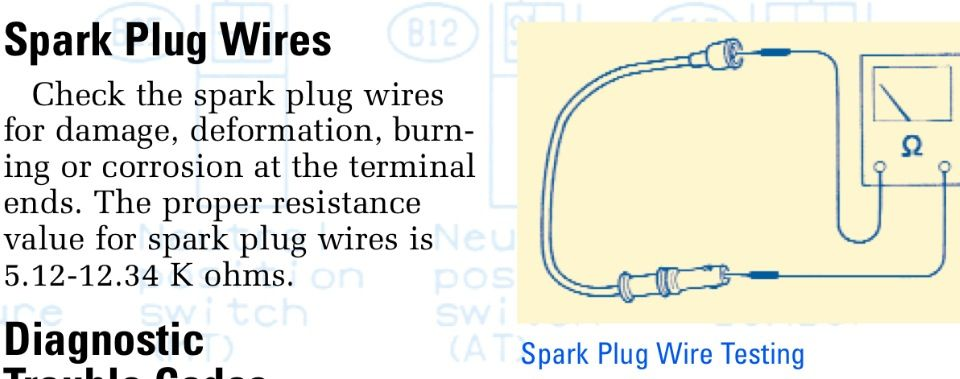 How to test spark plug wires. I believe 15K ohm per foot is ... Subaru Spark Plug Wiring Diagram on subaru wheel bearing replacement, chevy spark plug wiring diagram, dodge spark plug wiring diagram, ford spark plug wiring diagram,