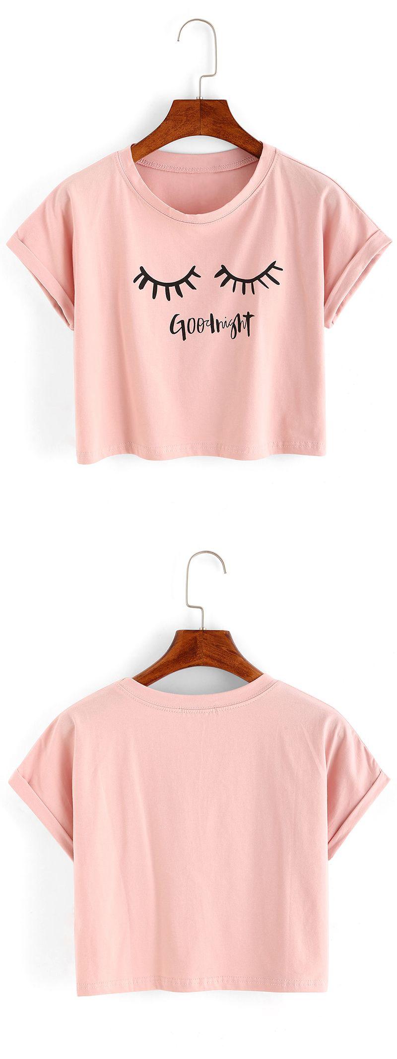 cute summer topseyelash print crop tshirt organza