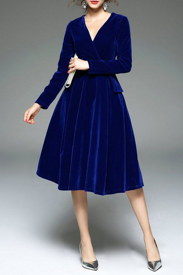 Royal Blue Velour Dress Velvet Dresses Outfit Fashion Velvet Fashion
