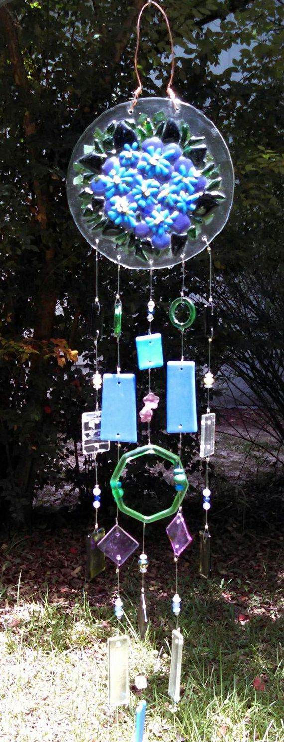 Hydrangea Beauty fused glass wind chimes by ColleenGail on Etsy