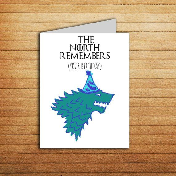 Game Of Thrones Card The North Remembers Your Birthday Stark Direwolf GoT Gift For Fan Tv Show