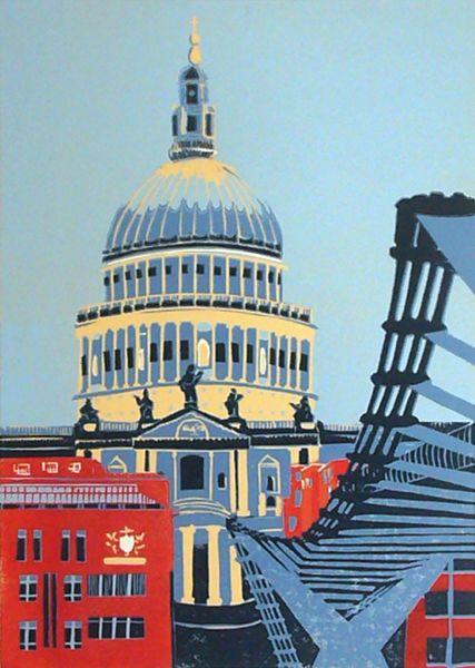 St Paul S With Millennium Bridge Ii By Jennie Ing Linocut Print Edition Of 30