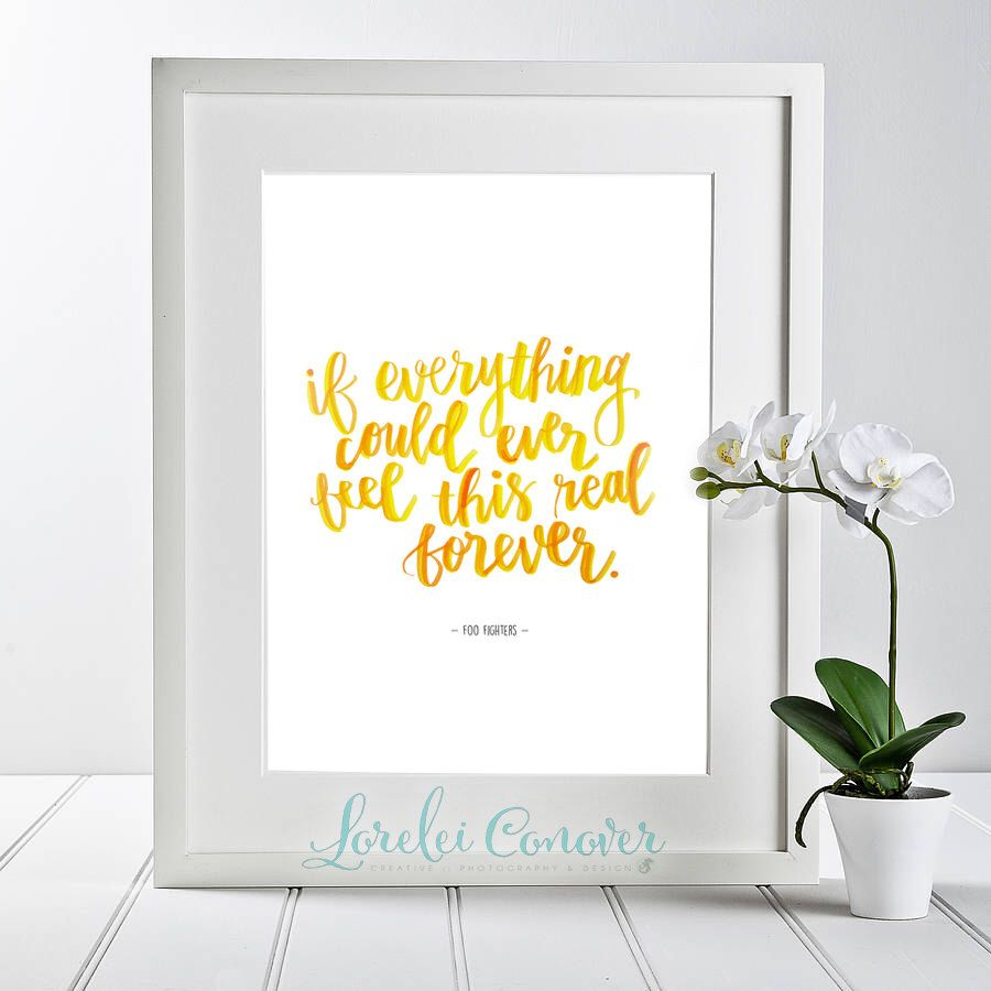 Watercolor Hand lettered Foo Fighters Everlong lyrics Digital ...