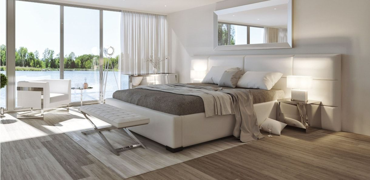 Best Lanai Modern Bed With Grand Tufted Leather Headboard 400 x 300