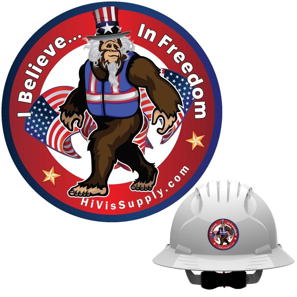 Hivis hank 991104 i believe in freedom hard hat sticker