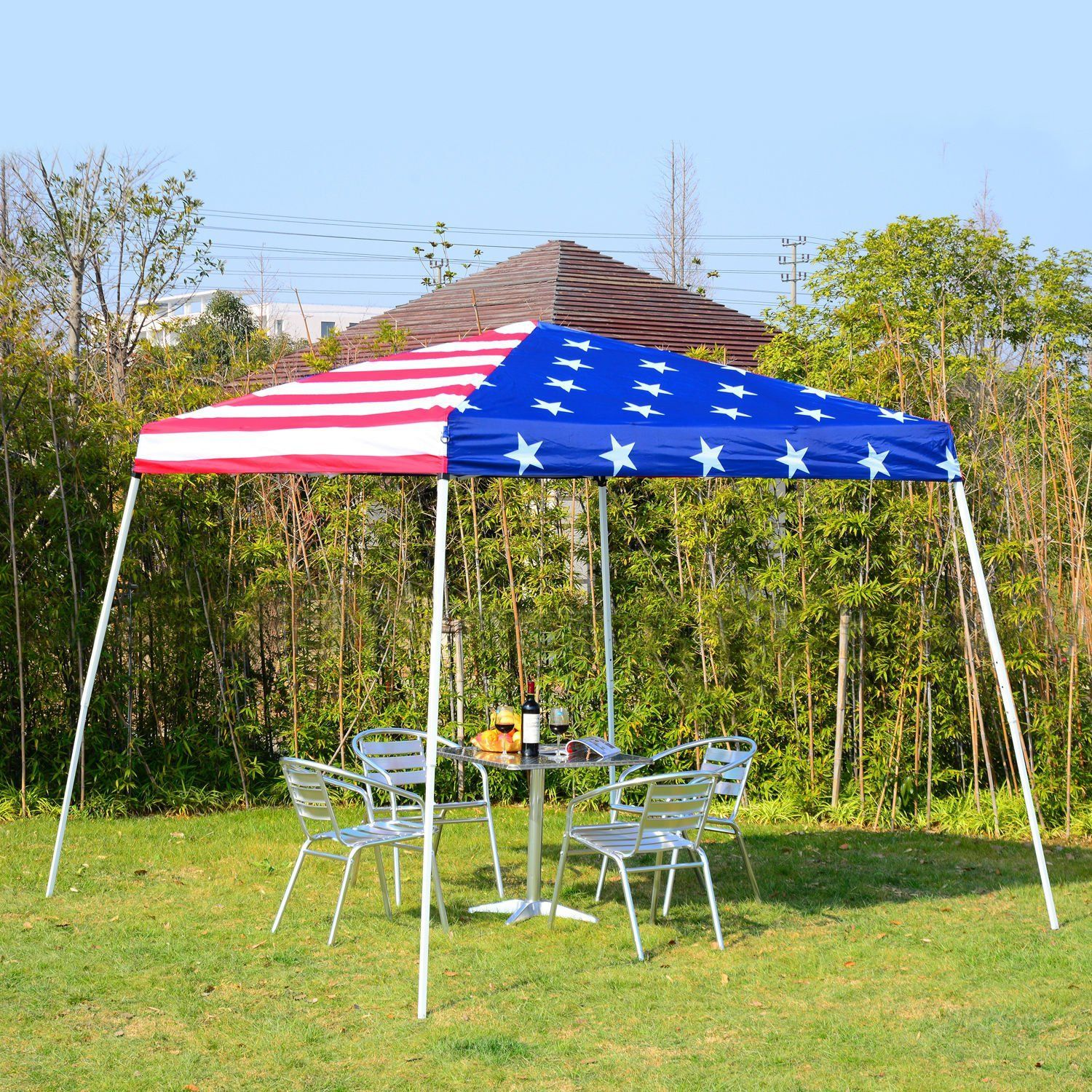 Outsunny 10 X 10 Slant Leg Pop Up Canopy Shelter Party Tent American Flag Patiofurnitureset Informations About In 2020 Canopy Shelter Canopy Outdoor Gazebo Canopy