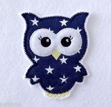 Eule mit Name in blau Aufbügler Aufnäher Bügelbild Patch Uhu Kautz Sticker