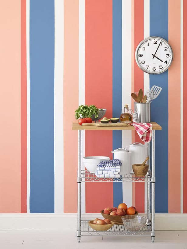 Painting Multicolored Stripes On A Wall Painting Stripes On
