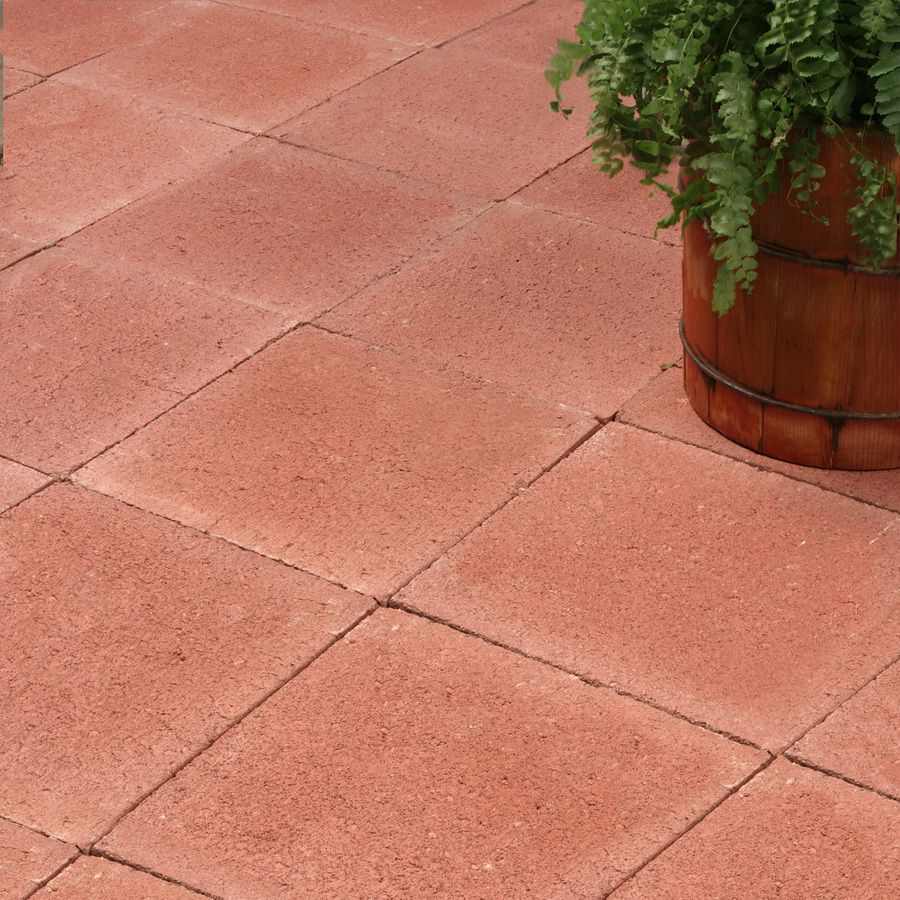Shop Red Square Patio Stone (Common: 12-in x 12-in; Actual ... on Red Paver Patio Ideas id=29282