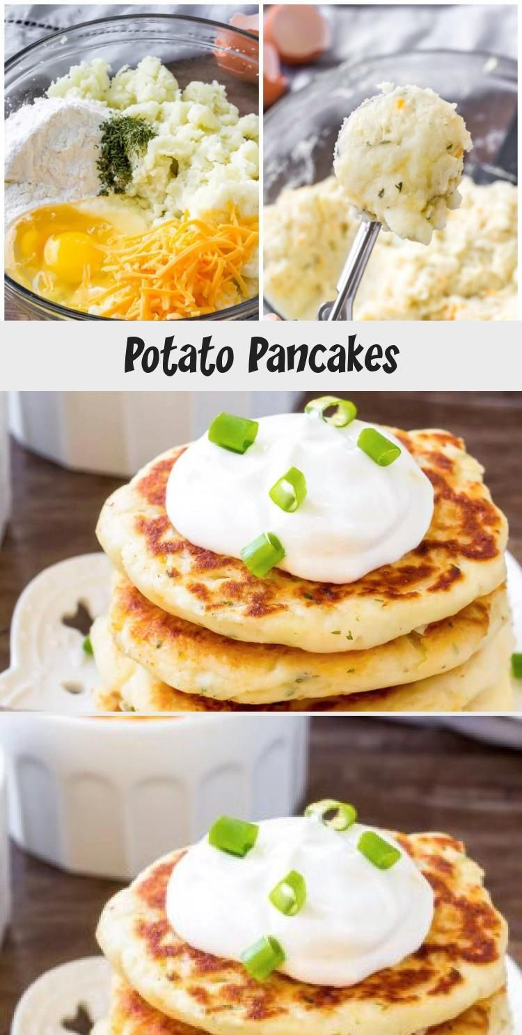 These easy potato pancakes are perfect for breakfast, lunch, supper or as an appetizer. Made with leftover mashed potatoes - they have delicious golden edges and are perfect with sour cream! #PancakeRicetta #PancakeNoMilk #BirthdayPancake #GermanPancake #OatmealPancake #potatopancakesfrommashedpotatoes