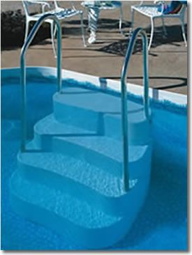 pool ladders pool steps above ground pool steps decks and fencing - Above Ground Pool Steps For Decks