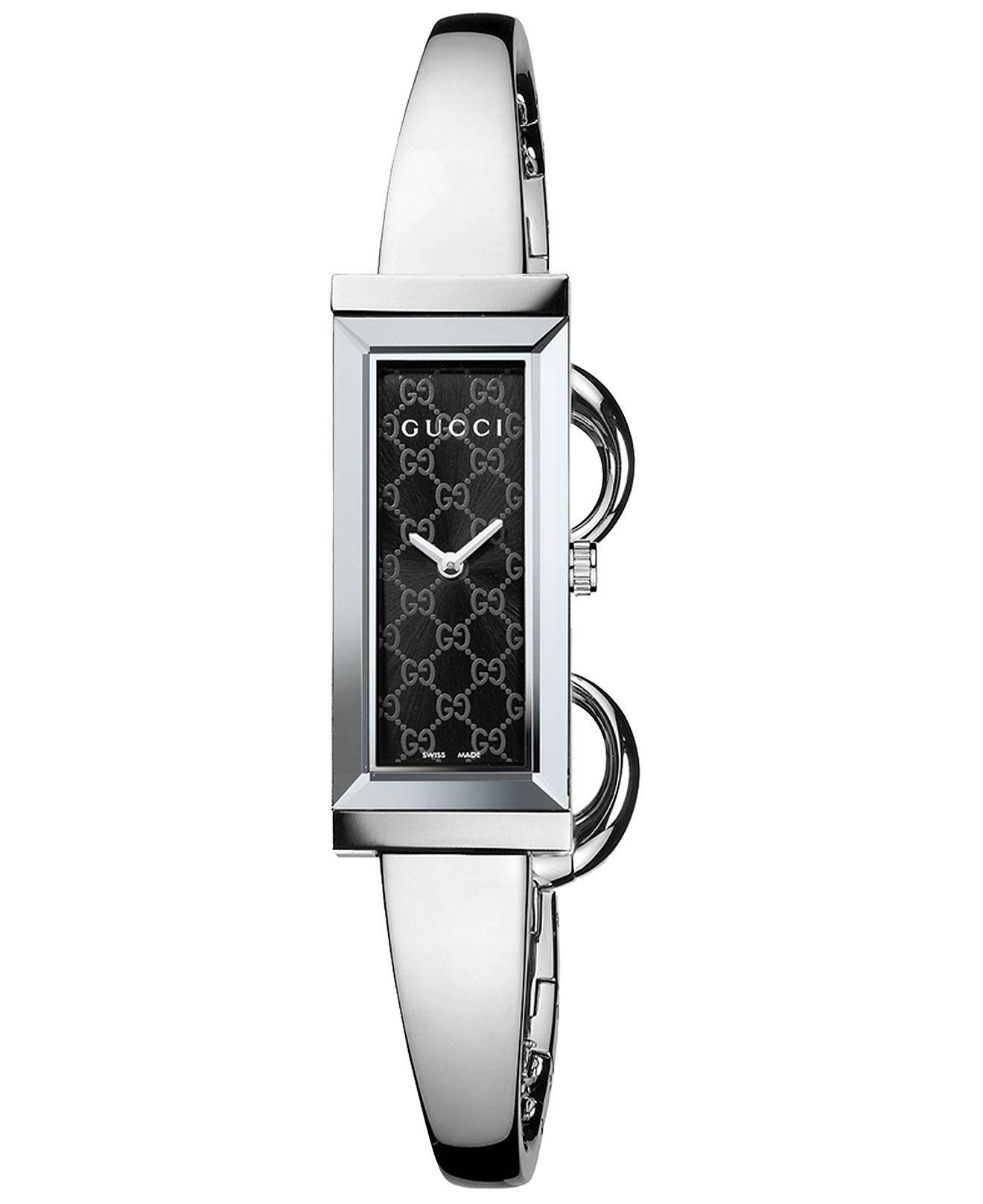 Gucci Watch, Women\'s Swiss G-Frame Stainless Steel Bangle Bracelet ...